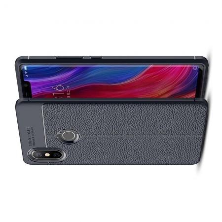 Litchi Grain Leather Силиконовый Накладка Чехол для Xiaomi Mi 8 SE с Текстурой Кожа Синий