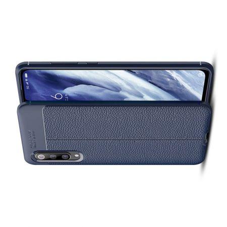Litchi Grain Leather Силиконовый Накладка Чехол для Xiaomi Mi 9 Pro с Текстурой Кожа Синий