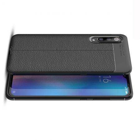 Litchi Grain Leather Силиконовый Накладка Чехол для Xiaomi Mi 9 с Текстурой Кожа Черный