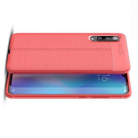 Litchi Grain Leather Силиконовый Накладка Чехол для Xiaomi Mi 9 с Текстурой Кожа Коралловый