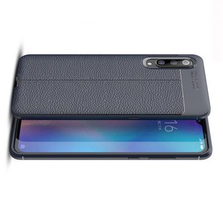 Litchi Grain Leather Силиконовый Накладка Чехол для Xiaomi Mi 9 с Текстурой Кожа Синий