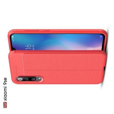 Litchi Grain Leather Силиконовый Накладка Чехол для Xiaomi Mi 9 SE с Текстурой Кожа Коралловый
