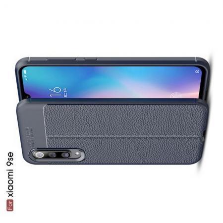 Litchi Grain Leather Силиконовый Накладка Чехол для Xiaomi Mi 9 SE с Текстурой Кожа Синий