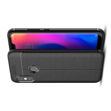Litchi Grain Leather Силиконовый Накладка Чехол для Xiaomi Mi A2 Lite / Redmi 6 Pro с Текстурой Кожа Черный