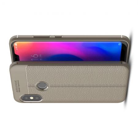 Litchi Grain Leather Силиконовый Накладка Чехол для Xiaomi Mi A2 Lite / Redmi 6 Pro с Текстурой Кожа Серый
