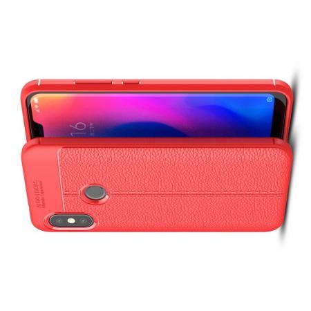 Litchi Grain Leather Силиконовый Накладка Чехол для Xiaomi Mi A2 Lite / Redmi 6 Pro с Текстурой Кожа Коралловый