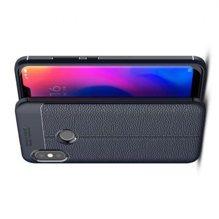 Litchi Grain Leather Силиконовый Накладка Чехол для Xiaomi Mi A2 Lite / Redmi 6 Pro с Текстурой Кожа Синий