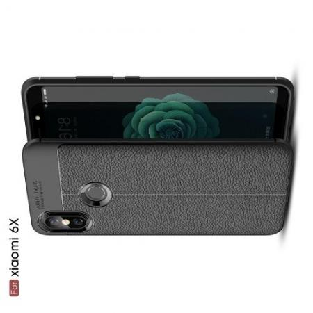 Litchi Grain Leather Силиконовый Накладка Чехол для Xiaomi Mi A2 / Mi 6X с Текстурой Кожа Черный