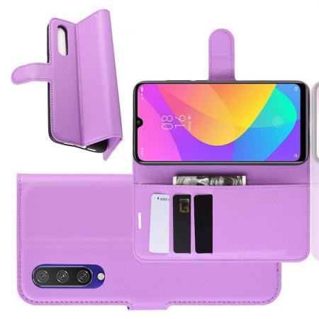 Litchi Grain Leather Силиконовый Накладка Чехол для Xiaomi Mi A3 с Текстурой Кожа Фиолетовый