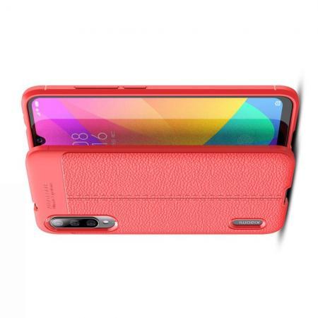Litchi Grain Leather Силиконовый Накладка Чехол для Xiaomi Mi A3 с Текстурой Кожа Коралловый
