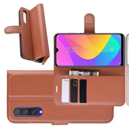 Litchi Grain Leather Силиконовый Накладка Чехол для Xiaomi Mi A3 с Текстурой Кожа Коричневый