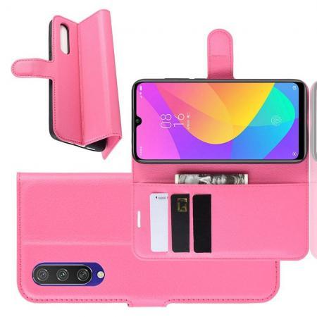 Litchi Grain Leather Силиконовый Накладка Чехол для Xiaomi Mi A3 с Текстурой Кожа Розовый