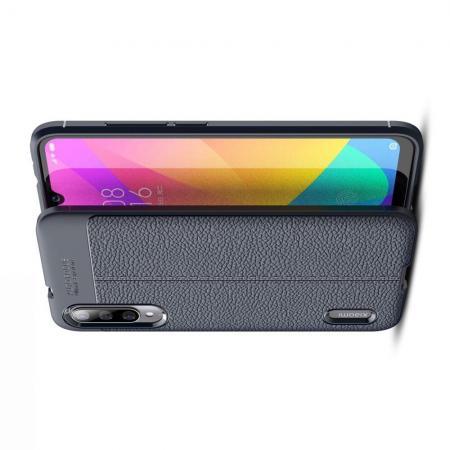 Litchi Grain Leather Силиконовый Накладка Чехол для Xiaomi Mi A3 с Текстурой Кожа Синий