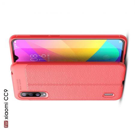 Litchi Grain Leather Силиконовый Накладка Чехол для Xiaomi Mi CC9 с Текстурой Кожа Коралловый