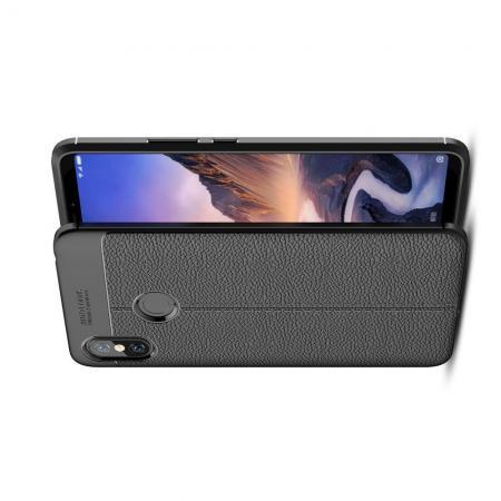Litchi Grain Leather Силиконовый Накладка Чехол для Xiaomi Mi Max 3 с Текстурой Кожа Черный