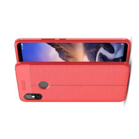 Litchi Grain Leather Силиконовый Накладка Чехол для Xiaomi Mi Max 3 с Текстурой Кожа Красный