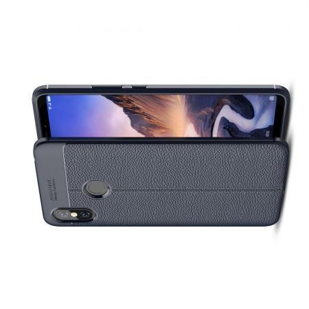 Litchi Grain Leather Силиконовый Накладка Чехол для Xiaomi Mi Max 3 с Текстурой Кожа Синий