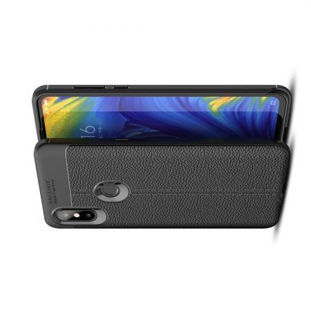 Litchi Grain Leather Силиконовый Накладка Чехол для Xiaomi Mi Mix 3 с Текстурой Кожа Черный