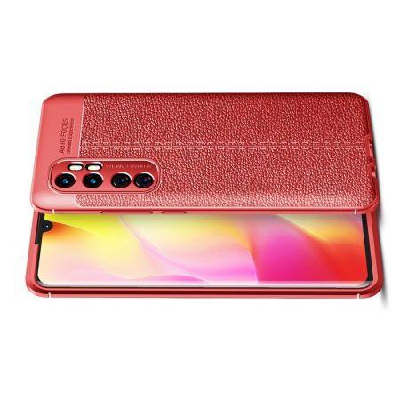 Litchi Grain Leather Силиконовый Накладка Чехол для Xiaomi Mi Note 10 Lite с Текстурой Кожа Красный
