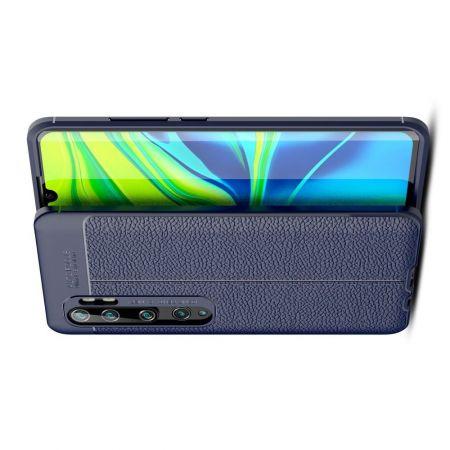 Litchi Grain Leather Силиконовый Накладка Чехол для Xiaomi Mi Note 10 с Текстурой Кожа Синий