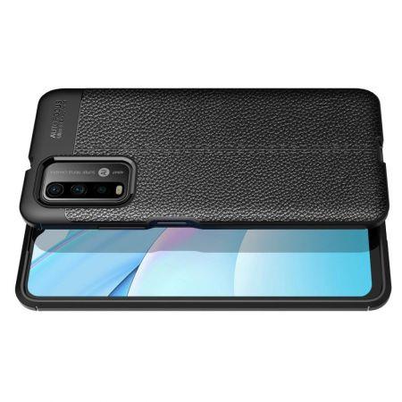 Litchi Grain Leather Силиконовый Накладка Чехол для Xiaomi Poco M3 с Текстурой Кожа Черный