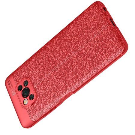 Litchi Grain Leather Силиконовый Накладка Чехол для Xiaomi Poco X3 NFC с Текстурой Кожа Красный