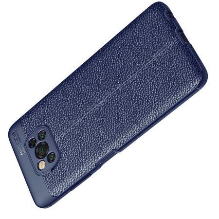 Litchi Grain Leather Силиконовый Накладка Чехол для Xiaomi Poco X3 NFC с Текстурой Кожа Синий