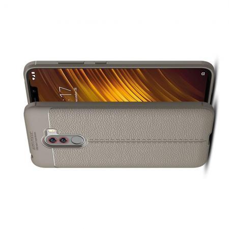 Litchi Grain Leather Силиконовый Накладка Чехол для Xiaomi Pocophone F1 с Текстурой Кожа Серый