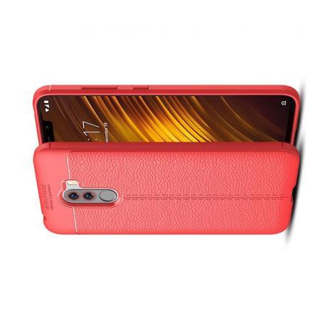 Litchi Grain Leather Силиконовый Накладка Чехол для Xiaomi Pocophone F1 с Текстурой Кожа Коралловый