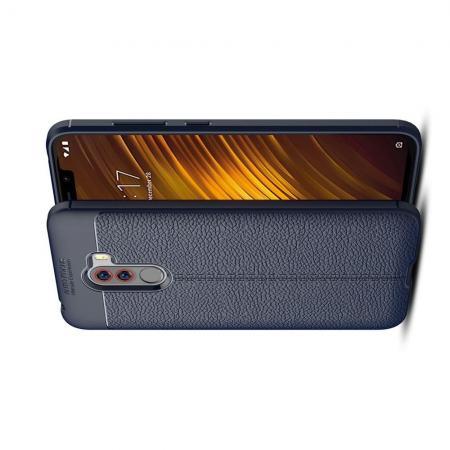 Litchi Grain Leather Силиконовый Накладка Чехол для Xiaomi Pocophone F1 с Текстурой Кожа Синий