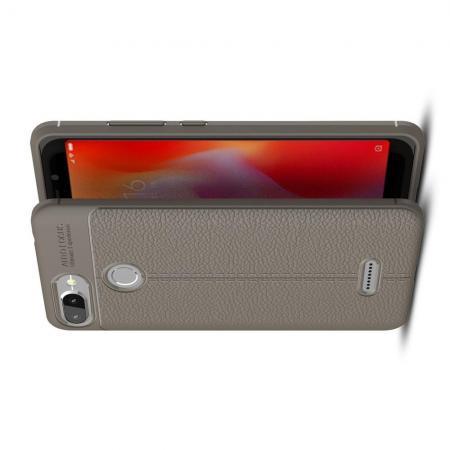 Litchi Grain Leather Силиконовый Накладка Чехол для Xiaomi Redmi 6 с Текстурой Кожа Серый