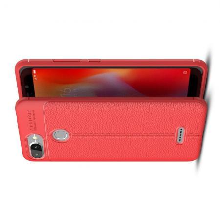 Litchi Grain Leather Силиконовый Накладка Чехол для Xiaomi Redmi 6 с Текстурой Кожа Коралловый