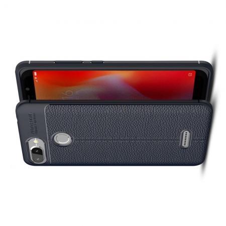 Litchi Grain Leather Силиконовый Накладка Чехол для Xiaomi Redmi 6 с Текстурой Кожа Синий