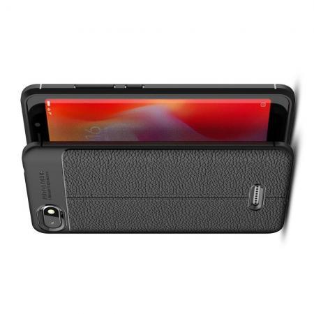 Litchi Grain Leather Силиконовый Накладка Чехол для Xiaomi Redmi 6A с Текстурой Кожа Черный