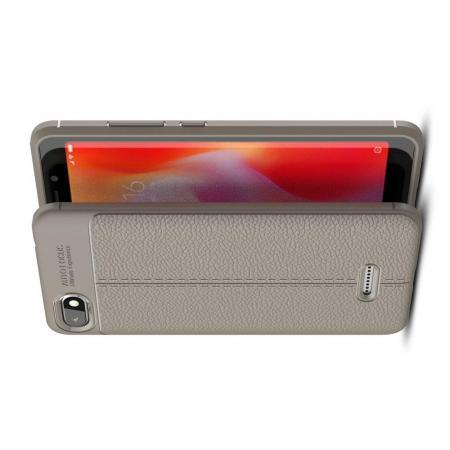 Litchi Grain Leather Силиконовый Накладка Чехол для Xiaomi Redmi 6A с Текстурой Кожа Серый