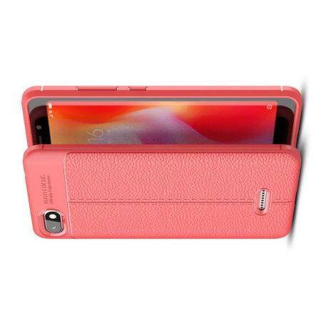 Litchi Grain Leather Силиконовый Накладка Чехол для Xiaomi Redmi 6A с Текстурой Кожа Коралловый