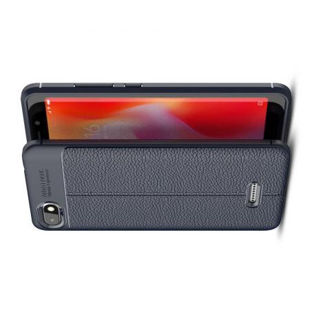 Litchi Grain Leather Силиконовый Накладка Чехол для Xiaomi Redmi 6A с Текстурой Кожа Синий