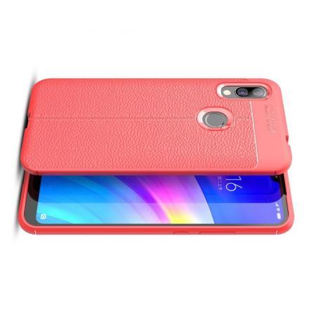 Litchi Grain Leather Силиконовый Накладка Чехол для Xiaomi Redmi 7 с Текстурой Кожа Коралловый
