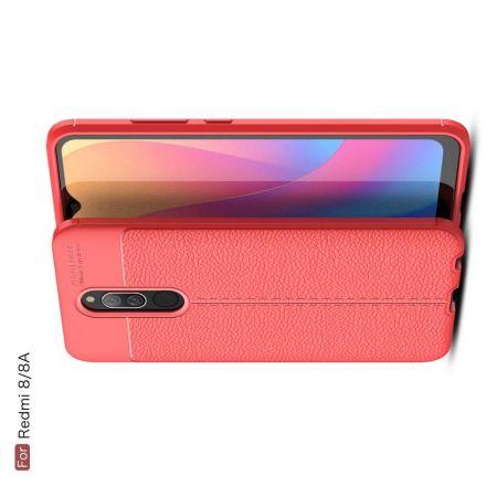 Litchi Grain Leather Силиконовый Накладка Чехол для Xiaomi Redmi 8A / Redmi 8 с Текстурой Кожа Красный