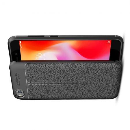 Litchi Grain Leather Силиконовый Накладка Чехол для Xiaomi Redmi Go с Текстурой Кожа Черный