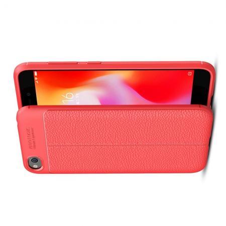 Litchi Grain Leather Силиконовый Накладка Чехол для Xiaomi Redmi Go с Текстурой Кожа Коралловый