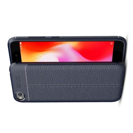 Litchi Grain Leather Силиконовый Накладка Чехол для Xiaomi Redmi Go с Текстурой Кожа Синий
