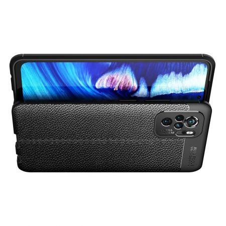 Litchi Grain Leather Силиконовый Накладка Чехол для Xiaomi Redmi Note 10 с Текстурой Кожа Черный