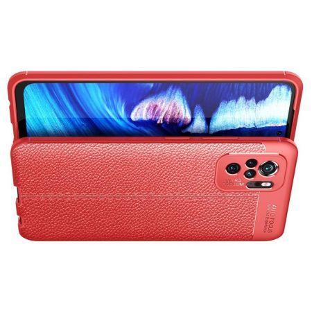 Litchi Grain Leather Силиконовый Накладка Чехол для Xiaomi Redmi Note 10 с Текстурой Кожа Красный