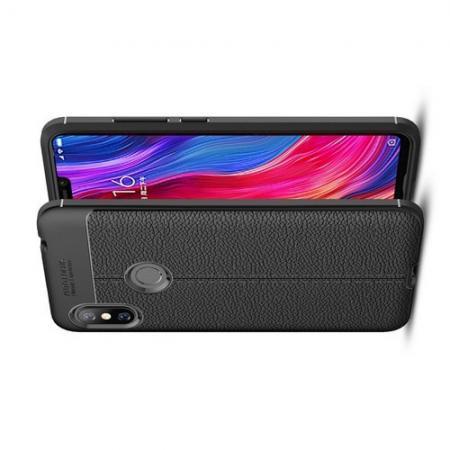 Litchi Grain Leather Силиконовый Накладка Чехол для Xiaomi Redmi Note 6 / Note 6 Pro с Текстурой Кожа Черный