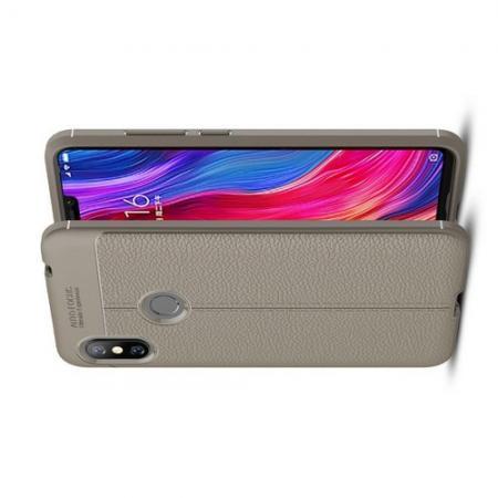 Litchi Grain Leather Силиконовый Накладка Чехол для Xiaomi Redmi Note 6 / Note 6 Pro с Текстурой Кожа Серый