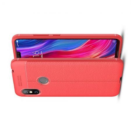 Litchi Grain Leather Силиконовый Накладка Чехол для Xiaomi Redmi Note 6 / Note 6 Pro с Текстурой Кожа Коралловый
