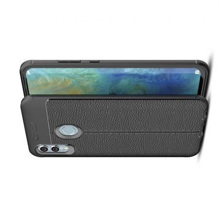 Litchi Grain Leather Силиконовый Накладка Чехол для Xiaomi Redmi Note 7 / Note 7 Pro с Текстурой Кожа Черный