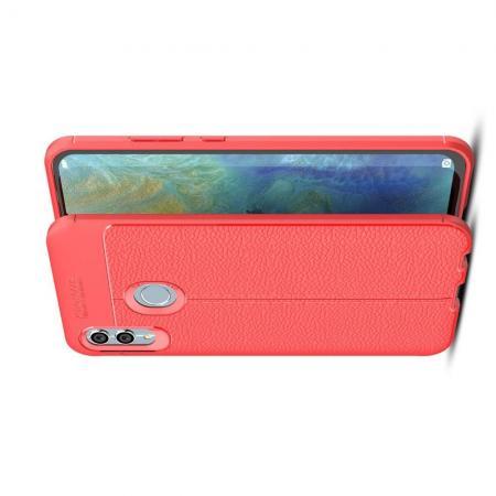 Litchi Grain Leather Силиконовый Накладка Чехол для Xiaomi Redmi Note 7 / Note 7 Pro с Текстурой Кожа Коралловый