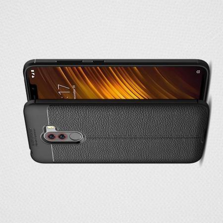 Litchi Grain Leather Силиконовый Накладка Чехол для Xiaomi Redmi Note 8 Pro с Текстурой Кожа Черный